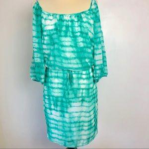 Bisou Bisou Cold Shoulder Green/White Dress Sz 10